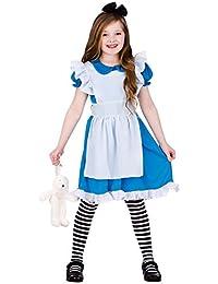 Girls Blue/White Classic Storybook Alice Fancy Dress Costume