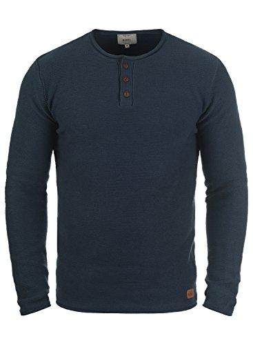 Redefined Rebel Milford Herren Strickpullover Feinstrick Pullover Mit Rundhals und Knopfleiste Aus 100% Baumwolle, Größe:L, Farbe:Navy