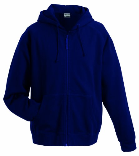 French Terry Hooded Jacket (James & Nicholson Herren Kapuzenpullover Hooded Jacket Blau (Navy) Medium)
