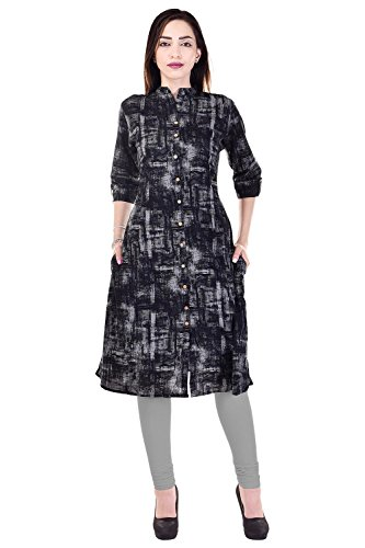 Bright Cotton Kurti for Women Kurta Top Black Printed BCCWN-037-46