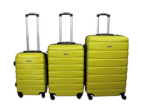 Dublin 2. Juego de maletas con 3 piezas en ABS y policarbonato con 4 ruedas giratorias 360 ° grados de varios colores (GIALLO)