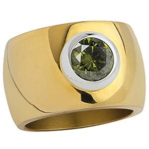 """Edelstahlring """"Blink"""" 15mm golden poliert m. grünem Zirkonia (SR1002G-7)"""
