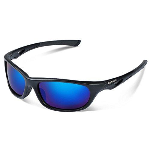 Duduma Polarisierter Sport Sonnenbrille für Baseball Skifahren Golf Laufen Radsport Angeln Reiten Fahren mit Unzerbrechlich Rahmen Du646 (Schwarz Matt Rahmen mit Blau Linse)