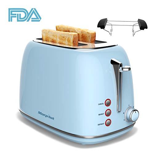 Toaster 4 Scheiben, Morpilot Edelstahl Toaster 1600 Watt mit 1,5'' breiten Schlitzen, 6 bräunungsstufen und 3 Moden (Auftau-, Aufwärm- sowie Abschaltungsmode) (BLAU)