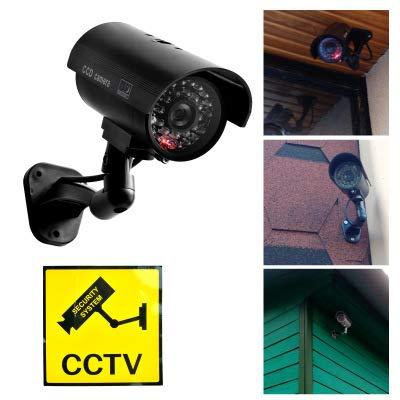 Dummy-Kamera Gefälschte Überwachungskamera CCTV Tag und Nacht Überwachungskamera Simulation Überwachung Virtuelle Kamera mit Rotem LED-Blitz (Schwarz) Gefälschte Video-Überwachung