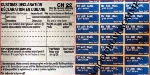 250 CUSTOM DECLARATION CN22 FORMS & 360 AIRMAIL STICKERS ROYAL MAIL POST OFFICE STATIONARY