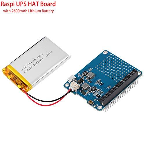 MakerHawk Raspberry Pi Batterie-Pack, Raspi UPS HAT Board (Raspberry Pi-Batterie) mit 4 LED Power-Indicator und 2600mAh Lithium-Batterie für Raspberry Pi 3B + / 2B + Modul B