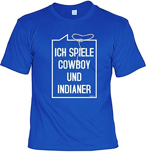 Veri Cowboy Männer Karneval T-Shirt Kostüm Cowboy und Indianer Fasching Verkleidung Print Party Artikel royal-blau Gr: XL :-