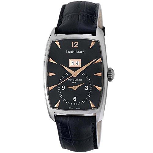 Louis Erard 82210AA02. BDC51–Montre pour hommes, bracelet en cuir couleur noir