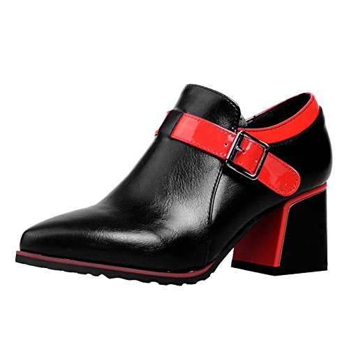 Carol Shoes Women's Western Retro Mid Heel Buckles Pointed Toe Ankle Boots  (8, Black+White)