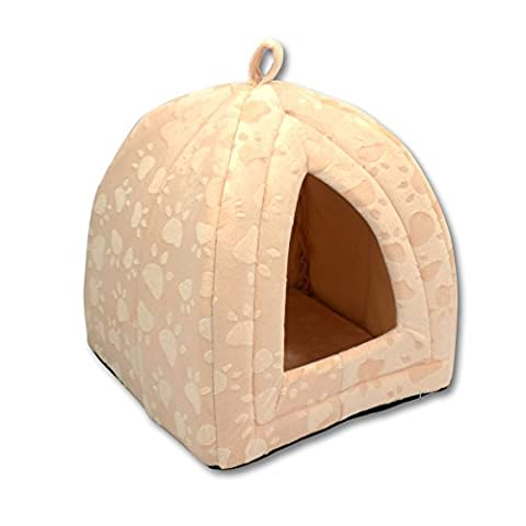 Luxury Pet Igloo Dog Cat Soft Comfy House Bed Igloo (BEIGE) by GALINDO