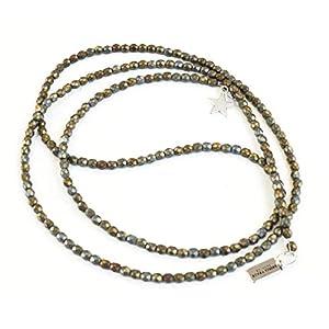 Lange Halskette Y-Kette schimmernde Glasperlen in taupe grau braun matt mit Anhängern silber Glasperlenkette…