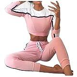 Strung Bekleidungsset Damen Mode Trainingsanzug Sportanzug Casual Langarm Hoodie Sweatshirt Pullover mit Slim fit Trainingshose Freizeit Sporthose 2 Teiler Sport Set (Rosa, S)