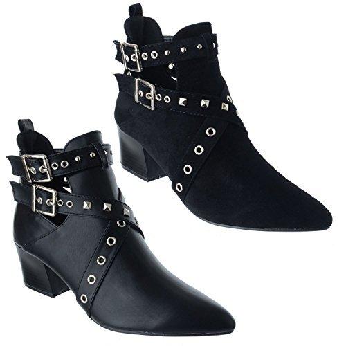 Miss Image UK Femmes Bas Talon Bloc Moyen Clous Point de pincement Découpe Cheville Bottes Chaussures Taille
