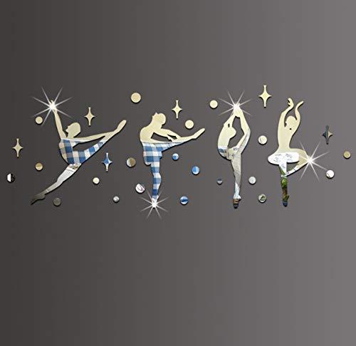 KaiXINSun Spiegel Wandaufkleber Kreative Stereo Spiegel Wandtattoos Kinderzimmer Mädchen Schlafzimmer Tanz Klassenzimmer Kindergarten DIY Dekor Wandbild Silber