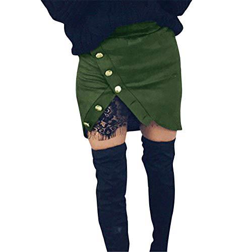(Amphia - Frauen einfarbig Spitze Nähen Knopf Reißverschluss sexy Tasche Hüfte Rock - Frauen Mode Feste Spitze Patchwork Taste reißverschluss sexy Bleistift Rock(Grün,M))