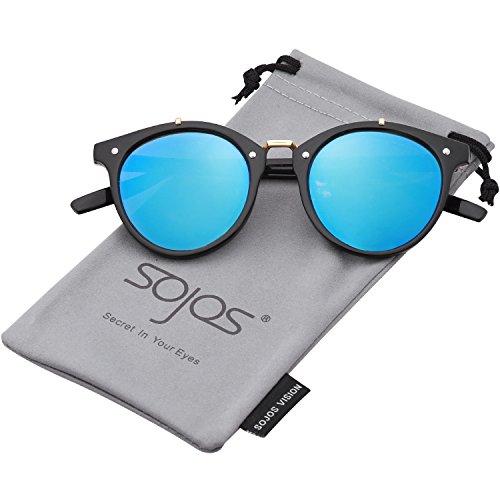 SOJOS Schick Klassische Runde Verspiegelt Sonnenbrille Unisex SJ2054 mit Schwarz Rahmen/Blau Linse