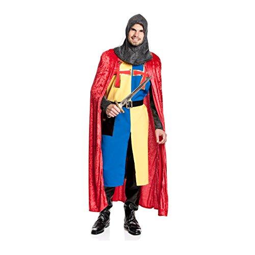 Kostümplanet® Ritter Kostüm Deluxe mit Umhang Herren Ritterkostüm Königs Ritter Größe (Mittelalterlichen 20 Größe Kostüm)