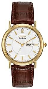 Citizen Eco-Drive Men's Gold-Tone Leather Watch #BM8242-08A