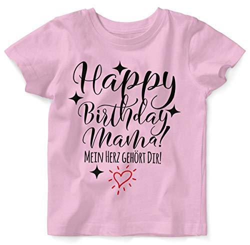 T-Shirt mit Spruch für Jungen Mädchen Unisex Kurzarm Happy Birthday Mama! Mein Herz gehört Dir! | handbedruckt in Deutschland | Handmade with Love, Farbe:rosa, Grösse:56/62 ()