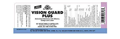 Solgar Vision Guard Plus. Fórmula antioxidante con vitamina C, arándano, ginkgo y luteína que ayuda a minimizar el daño causado por los radicales libres - 60 cápsulas
