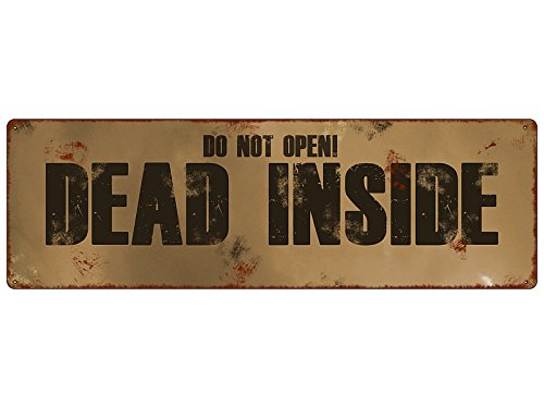 METALLSCHILD Blechschild Dekoschild Türschild DEAD INSIDE Halloween The walking