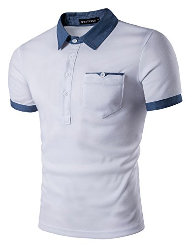Ycheng uomo polo maglietta manica corta colletto a contrasto denim con tasconi casual formal