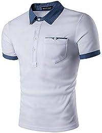 YCHENG Premium Polo Camisetas para Hombre Manga Cortas con Botón Contrast Collar de Mezclilla