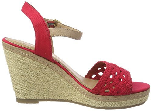 TOM TAILOR Damen 4890805 Riemchensandalen Rot (Red)