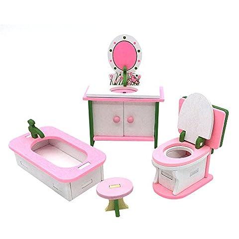 Per Mobilier de Poupée Miniature Mobilier Maison de Poupée Accessoire Poupée en Bois Décoration de Poupée Mignon Décoration de Maison/Salle de bain