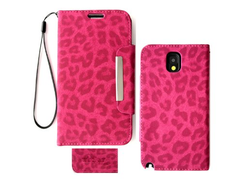 Samsung Galaxy Note 3N9000Leopard Print Deluxe PU Leder Wallet Folio Case Cover, Rose - Samsung 3 Tmobile Galaxy Note