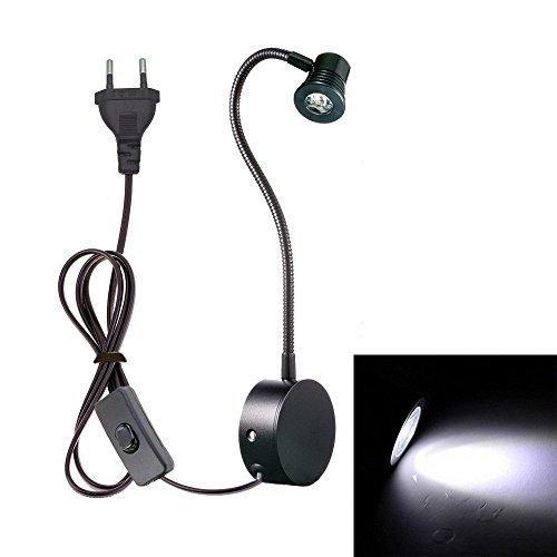 Onerbuy LED Task Lights Flexible Arm Lesung Schreibtisch Lampe Wandhalterung Sconce Light mit Stecker und Ein / Aus Schalter für Büro, Bedside, Study (Black-Cool white)