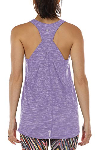 icyzone Damen Yoga Fitness Tank Top Lang - Training Jogging Ärmelloses Shirt Sport Oberteil Tops (XL, Lavender)