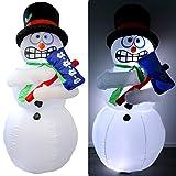 Tronje aufblasbarer XL Schneemann 180cm Zitterfunktion LED-Licht Dauergebläse Innen- Außenbereich Mr. Frost Santa X-Mas
