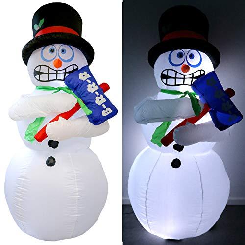 Tronje xl led pupazzo di neve mr. frost gonfiabile 180cm effetto ghiacciato ventola permanente esterni