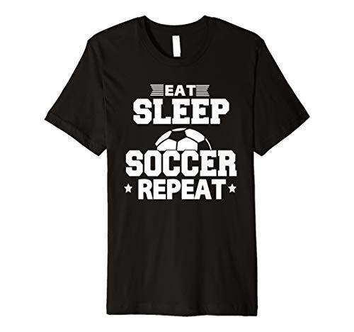 EAT SLEEP SOCCER Repeat T-Shirt Cooles Sport-lustiges Geschenk Shirt