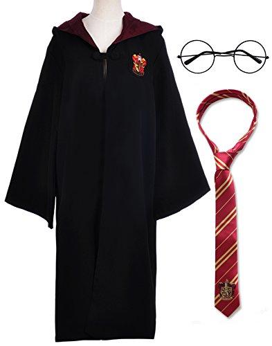 Karnevalskostüm Faschingskostüme Gryffindor Slytherin Ravenclaw Hufflepuff Kostüm Kapuzen Kap für Damen Herren Kinder Jungen Mädchen (Gryffindor Kap Kostüm mit Krawatte und Harry Potter Brille, Etikett S für (Halloween Kostüme 2017 Mädchen Heiße)