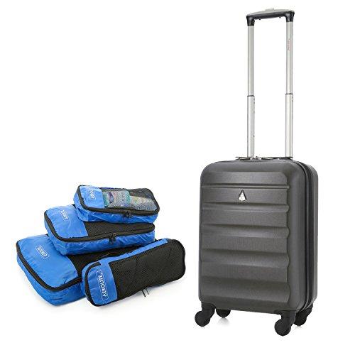 Aerolite ABS Bagage Cabine à Main Valise Rigide Léger 4 Roulettes (Charbon + Cube)