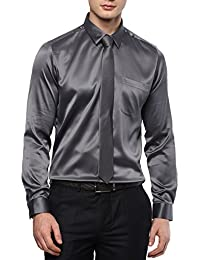 Turtle Men's Grey Poly Satin Slim Fit Partywear Shirt With Tie