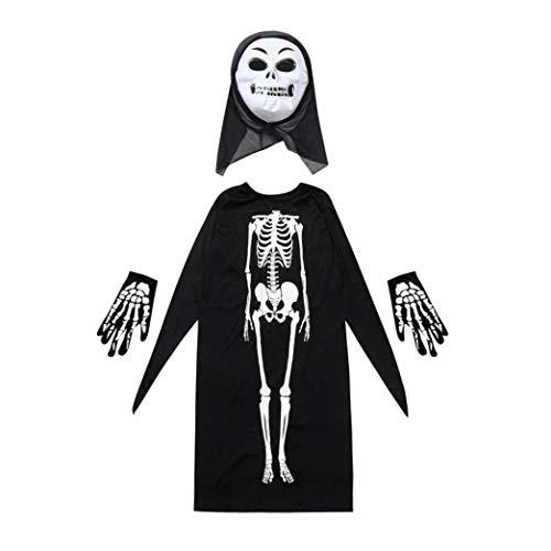 (Erwachsene/Kind Halloween Vampir Erwachsene Mantel Skelett Schädel Teufel Geist Robe Halloween Kostüm Skelett Mantel Umhang + Horror Maske + Handschuhe drei Stücke von Halloween Cosplay Prevently (Colour C, Kind))