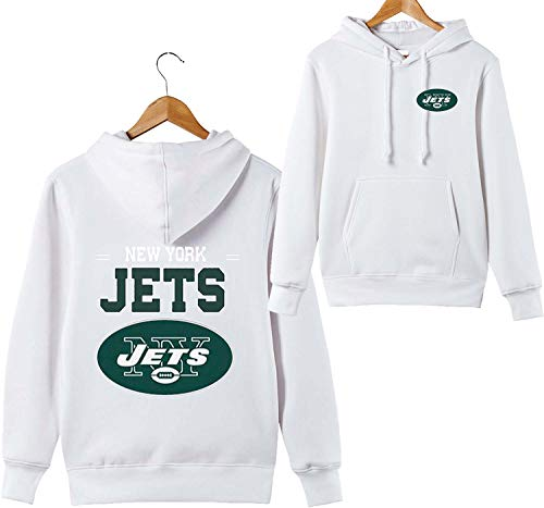 ZXTXGG Männer 3D Hoodies New York Jets NFL Football Team Uniform Muster Digitaldruck Liebhaber Kapuzenpullis(L,Weiß) (Uniform Jets)
