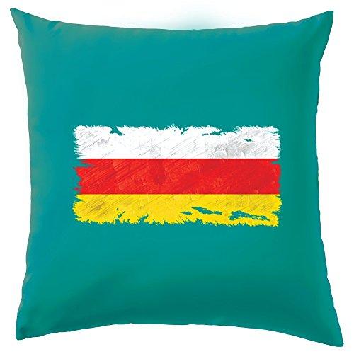 """Südossetien Grunge Style Flagge Kissen–41x 41cm (40,6cm)–10Farben, 100 % Baumwolle, türkis, 41 x 41cm (16"""")"""