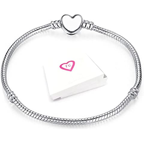 Plata corazón pulsera del encanto del corchete para europeo estilo Pandora encantos en caja de regalo por verdaderamente®