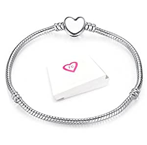 Silver Heart Clasp Charm Bracelet For Pandora Style European Charms Gift Boxed By Truly Charming® (17 CM)