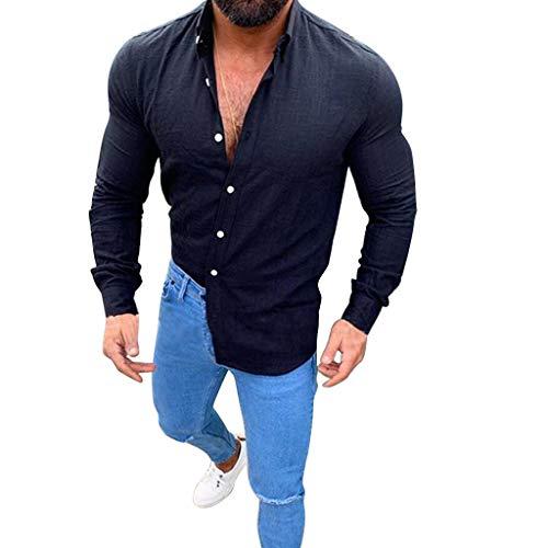 MNRIUOCII Herren Hemden Sommer Leinen Shirt Langarm Leinenhemd Aus Mode Bluse Top Herren Regular Fit Freizeithemd Casual T-Shirt Solid Langarm-Shirts FüR MäNner Langarm Bluse (Hanes Langarm-t-shirts Für Männer)