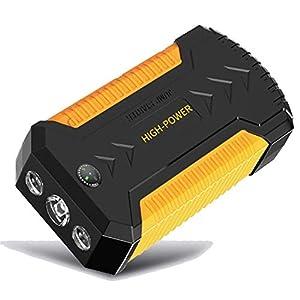 600A 12000mAh 12V Arrancador de Coches de Coche (hasta 5, 0L Gasolina o 3L Diesel), IP68 Impermeable con Carga Rápida QC3.0 4 USB Linterna LED