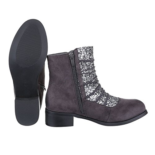 Schlupfstiefel Leicht Reißverschluss Blockabsatz Gefütterte design Ital Komfort Grau Damen Stiefeletten Schuhe HSqStwp