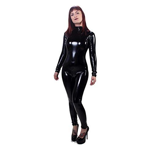 Rubberfashion Lack Catsuit, glänzender PVC Overall mit Langen Armen und 3 Wege Schrittreißverschluss für Frauen und Herren Menge: 1 Stück schwarz XXL