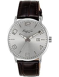 Kenneth Cole IKC8006 - Reloj con correa de policarbonato para hombre, color plateado / gris