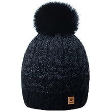 89fe5276d2606e MFAZ Morefaz Ltd Damen Herren Winter Beanie Strickmütze Mütze Wurm Fleece  Bommel Fashion Ski